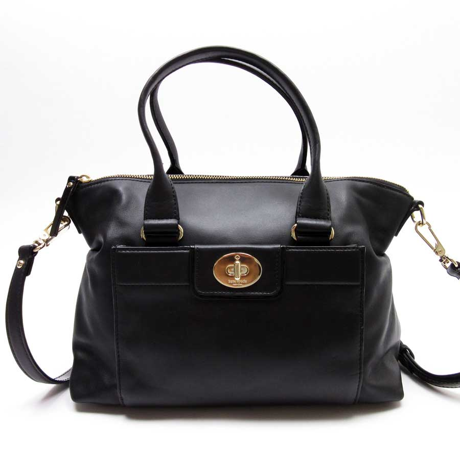 Basic Pority Used Take Kate Spade Handbag Slant Shoulder Bag 2way Lady Black X Gold Leather Patent