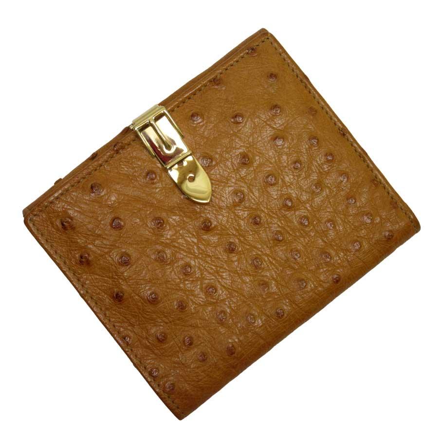 グッチ GUCCI 二つ折り財布 キャメルxゴールド オーストリッチ レディース 【中古】【おすすめ】 - t13219