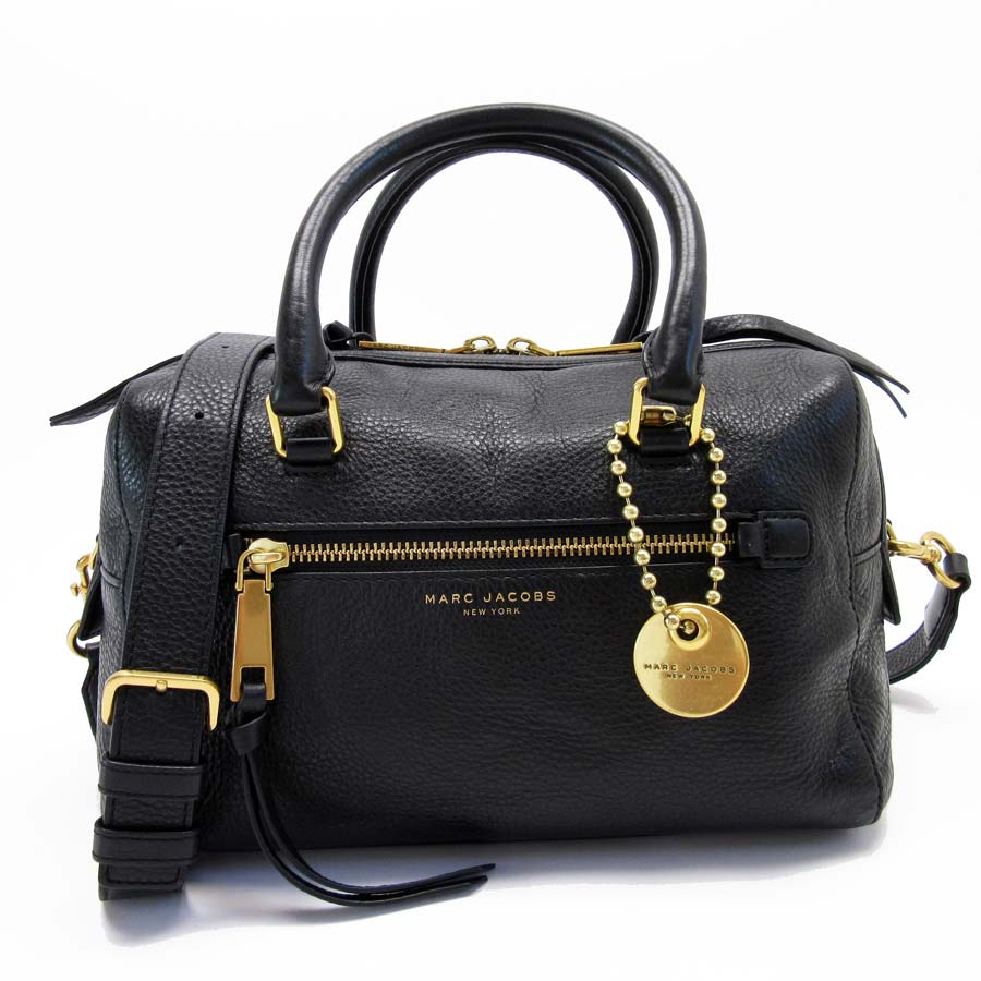 749347179e5 BrandValue: Take mark Jacobs MARC JACOBS handbag slant; shoulder bag 2Way bag  black x gold leather Lady's - t13261 | Rakuten Global Market