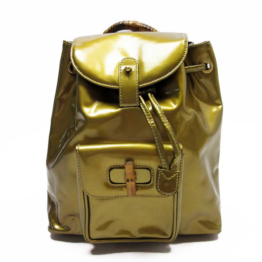 6c8ed666b32f BrandValue: Gucci GUCCI rucksack backpack bamboo gold system x natural  bamboo x patent leather Lady's - t13348 | Rakuten Global Market