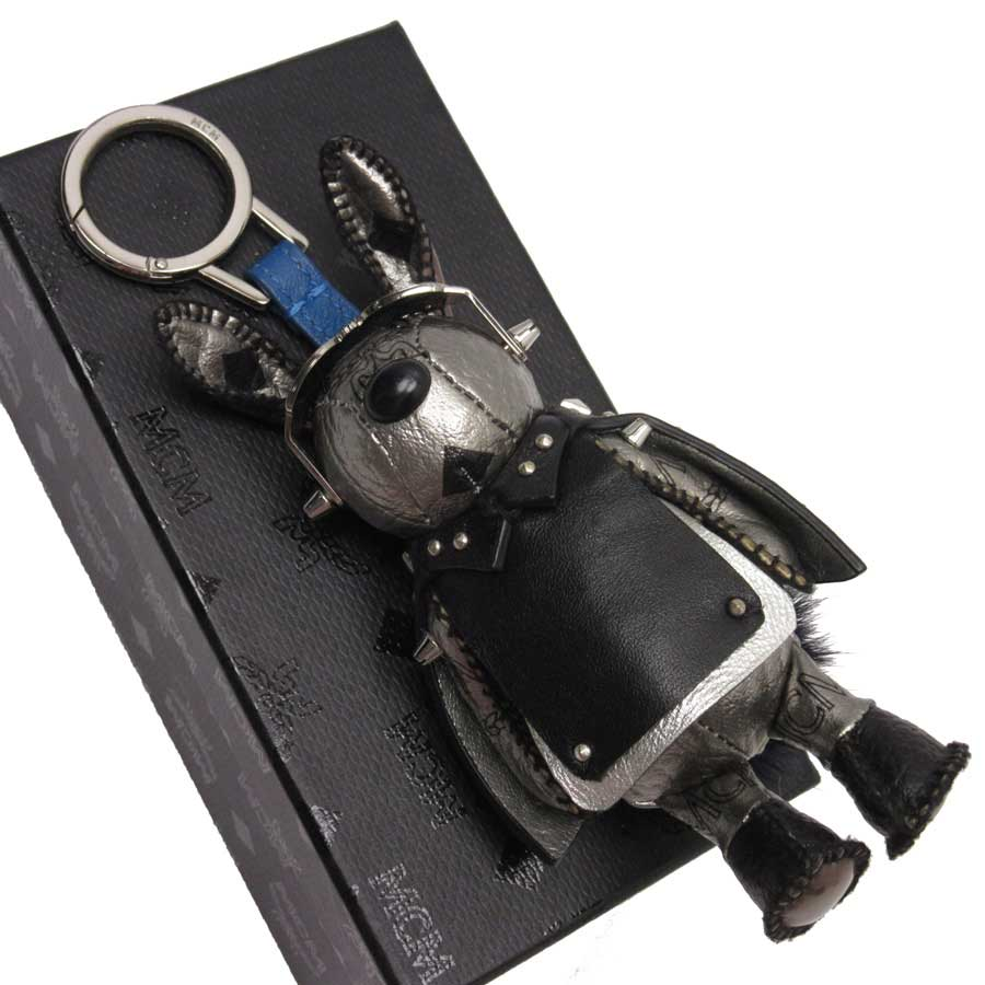5ea312df62f  basic popularity   used  M CM  MCM  rabbit key ring charm silver x black x  blue leather xSS