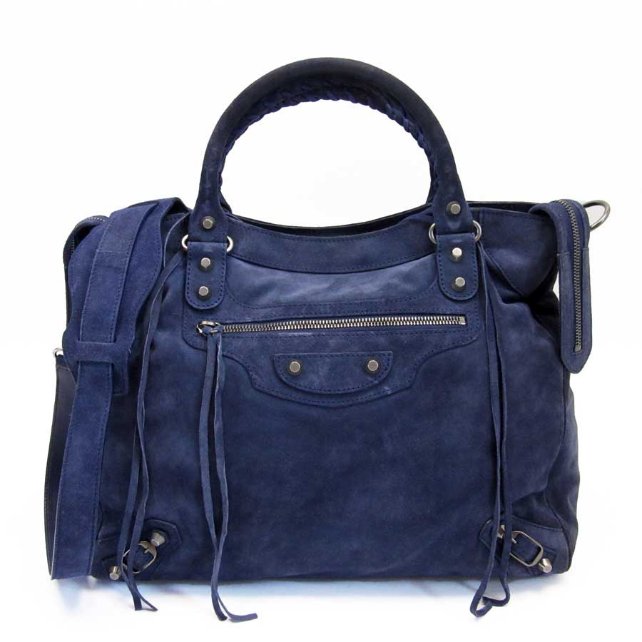 Basic Pority Used バレンシアガ Balenciaga The City Handbag Shoulder Bag 2way Lady Navy Suede