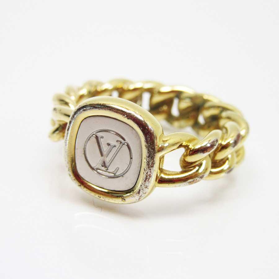 ルイヴィトン 指輪 リング LVリング シルバーxゴールド GP(ゴールドメッキ) Louis Vuitton レディース メンズ M61094 【中古】【定番人気】 - g0347