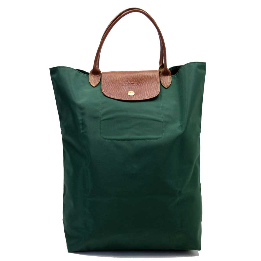 5837cd6898e [basic popularity] [used] Longchamp [LONGCHAMP]  ルプリアージュハンドバッグトートバッグレディースグリーン x brown nylon x leather