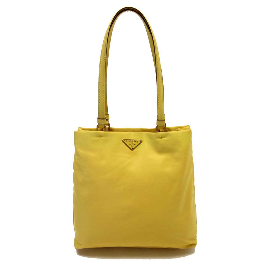 d550ce644c25 BrandValue: Prada PRADA shoulder bag yellow leather x nylon Lady's - g0386  | Rakuten Global Market