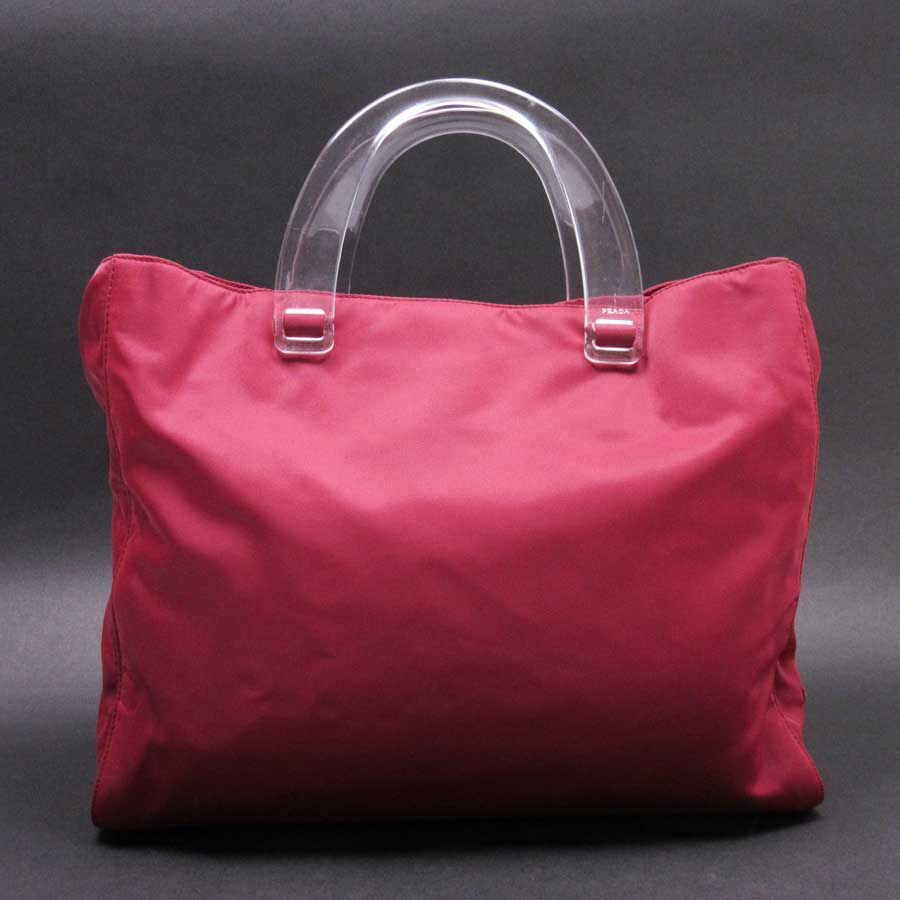 bd03e1afbb  basic popularity   used  Prada  PRADA  triangle logo handbag Lady s wine  red nylon x plastic