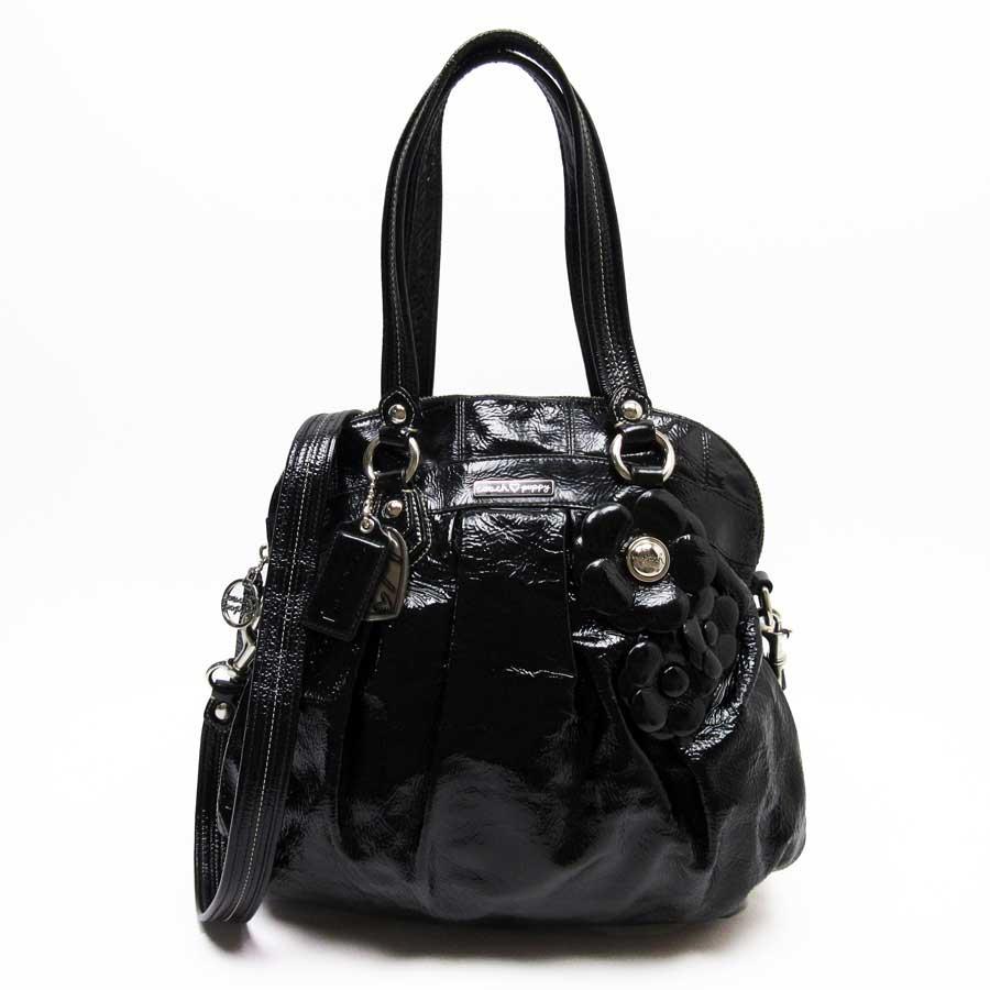 Basic Pority Used Take A Coach Poppy Handbag Slant Shoulder Bag 2way Lady Black Patent Leather