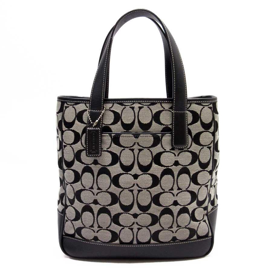 7e2896c3559 ... purse c8111 539b8  cheap basic popularity used coach coach signature  handbag ladys gray x black canvas x leather e993e