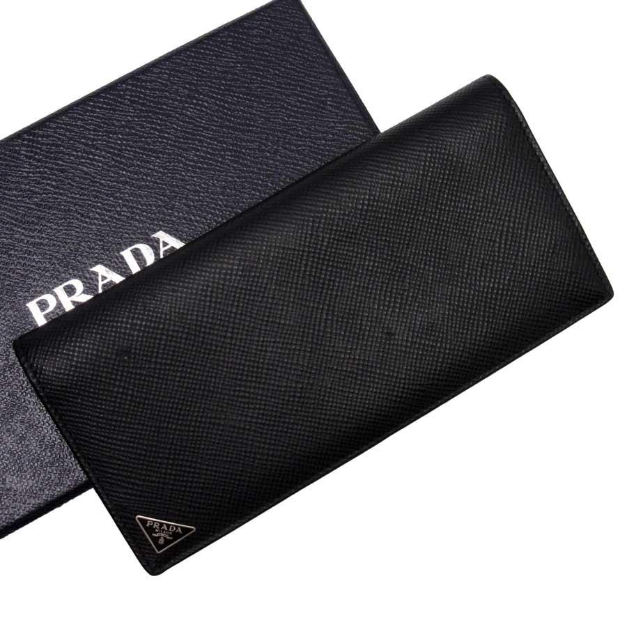 プラダ PRADA 二つ折り長財布 サフィアーノ NERO(ブラック)xグリーン サフィアーノレザー 【中古】【定番人気】 - 89262