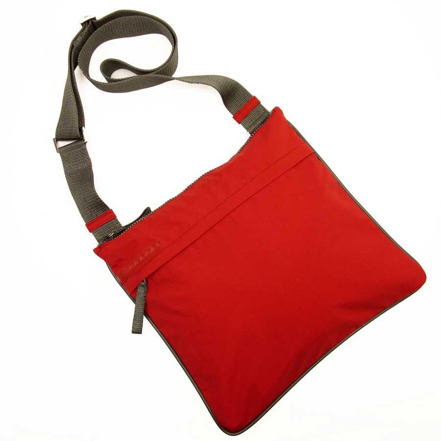 05376af72e97  basic popularity   used  take Prada  PRADA  sports line slant  shoulder bag  Lady s men red x gray nylon