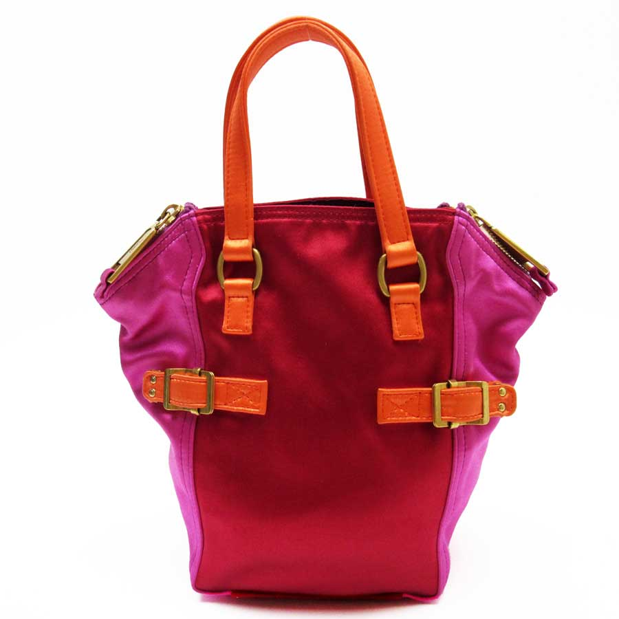 f991f99ab44ac  basic popularity   used  Yves Saint-Laurent  YVES SAINT LAURENT  handbag  Lady s red x pink x orange x gold satin