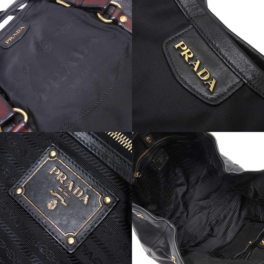 32d5d6824cf8  basic popularity   used  a Prada  PRADA  shoulder bag Lady s NERO (black) x  brown x gold nylon x leather x metal material
