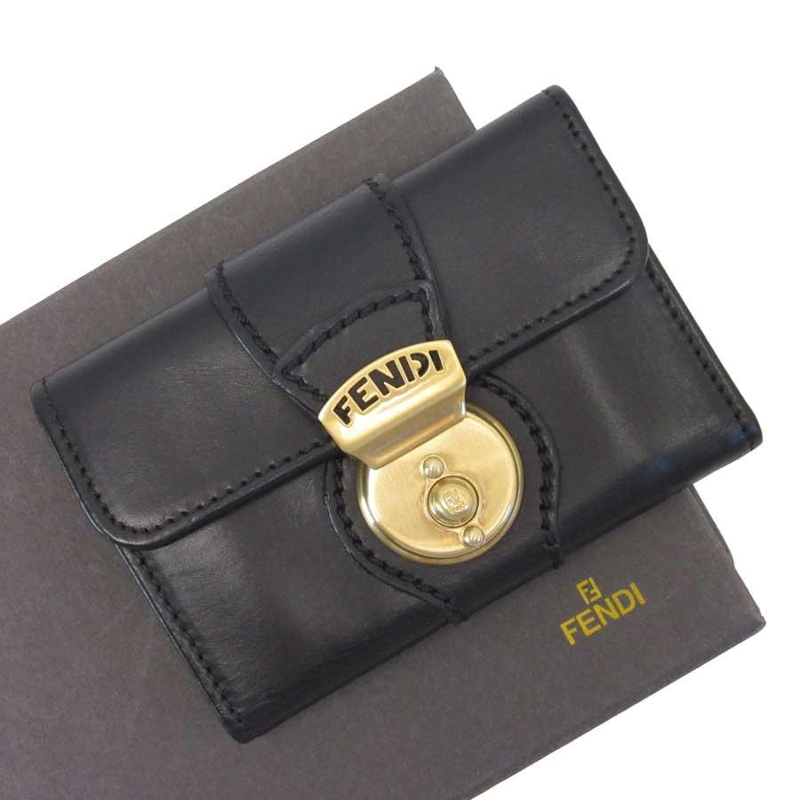 フェンディ FENDI 6連キーケース ブラックxゴールド レザーx金属素材 レディース 【中古】【定番人気】 - t13717
