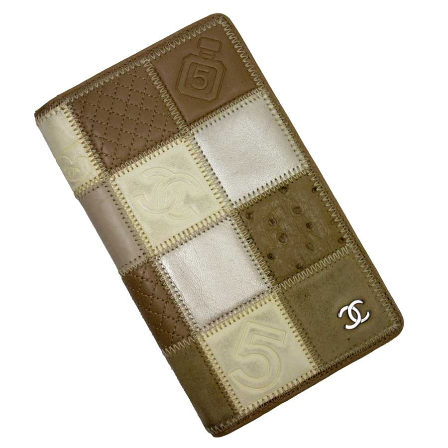 629243ca8383 [basic popularity] [used] leather x ostrich x Harako x suede of Chanel [ CHANEL] icon line folio long wallet Lady's Brown line