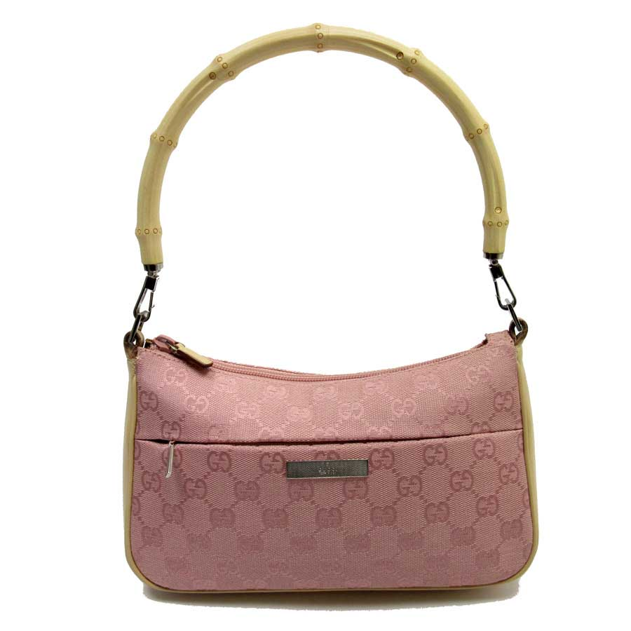 0b65f2f4c6ea1  basic popularity   used  Gucci  GUCCI  bamboo GG shoulder bag Lady s pink  x brown canvas x leather