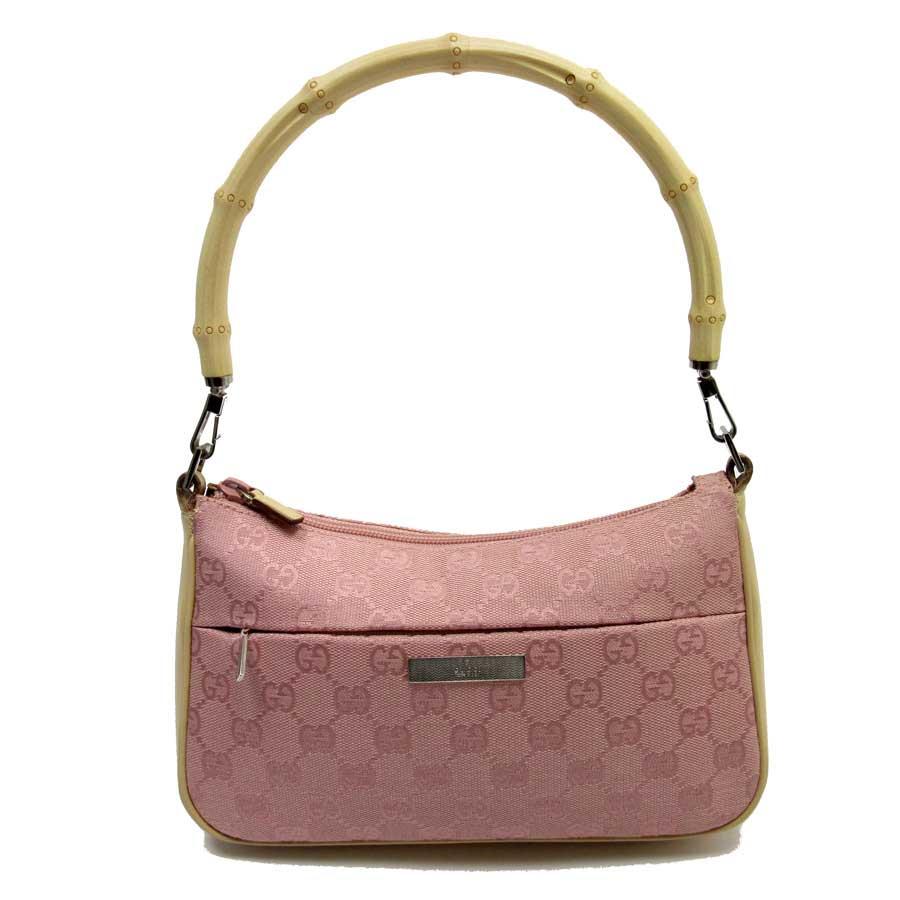 6ed940dc31 BrandValue: Gucci GUCCI shoulder bag bamboo GG pink x brown canvas x  leather Lady's - a1406 | Rakuten Global Market