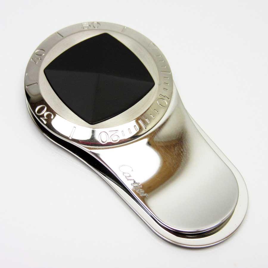 カルティエ Cartier マネークリップ シルバーxブラック プラスティックxSS 【中古】【定番人気】 - a1425