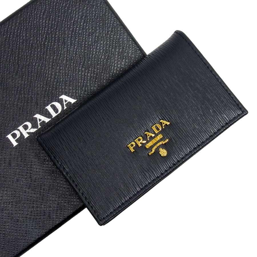 プラダ PRADA カードケース 名刺入れ ネイビーxゴールド レザー レディース メンズ 値下げ商品【中古】【定番人気】 - h19827