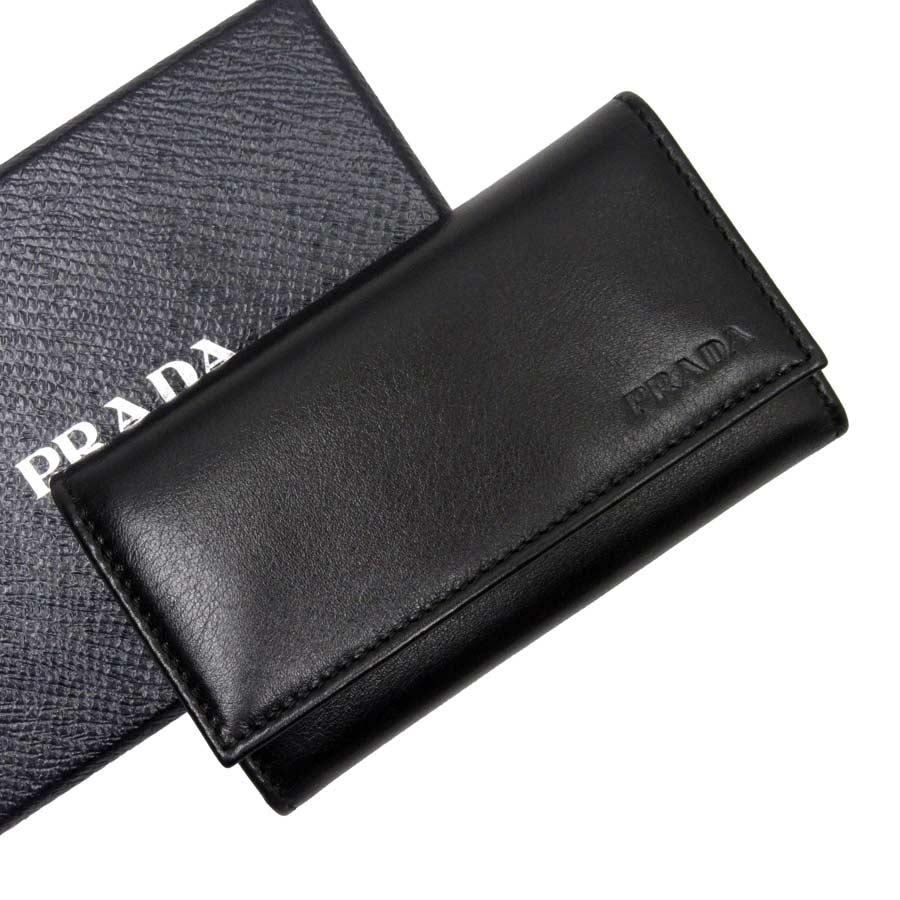 プラダ PRADA 6連キーケース NERO(ブラック) レザー レディース メンズ 【中古】【おすすめ】 - t13918