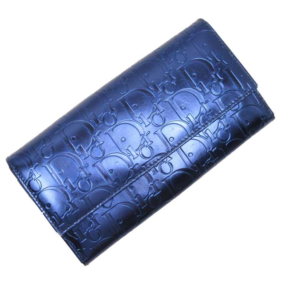 クリスチャンディオール Christian Dior 長財布 トロッター ブルー メタリックレザー レディース 【中古】【定番人気】 - t13957