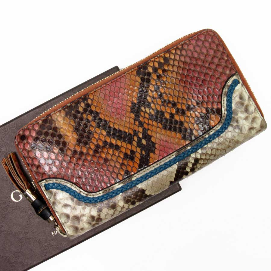 5c34b16c9912a0 [basic popularity] [used] Gucci [GUCCI] round fastener long wallet Lady's  men orange x beige x blue x gold python leather x bamboo