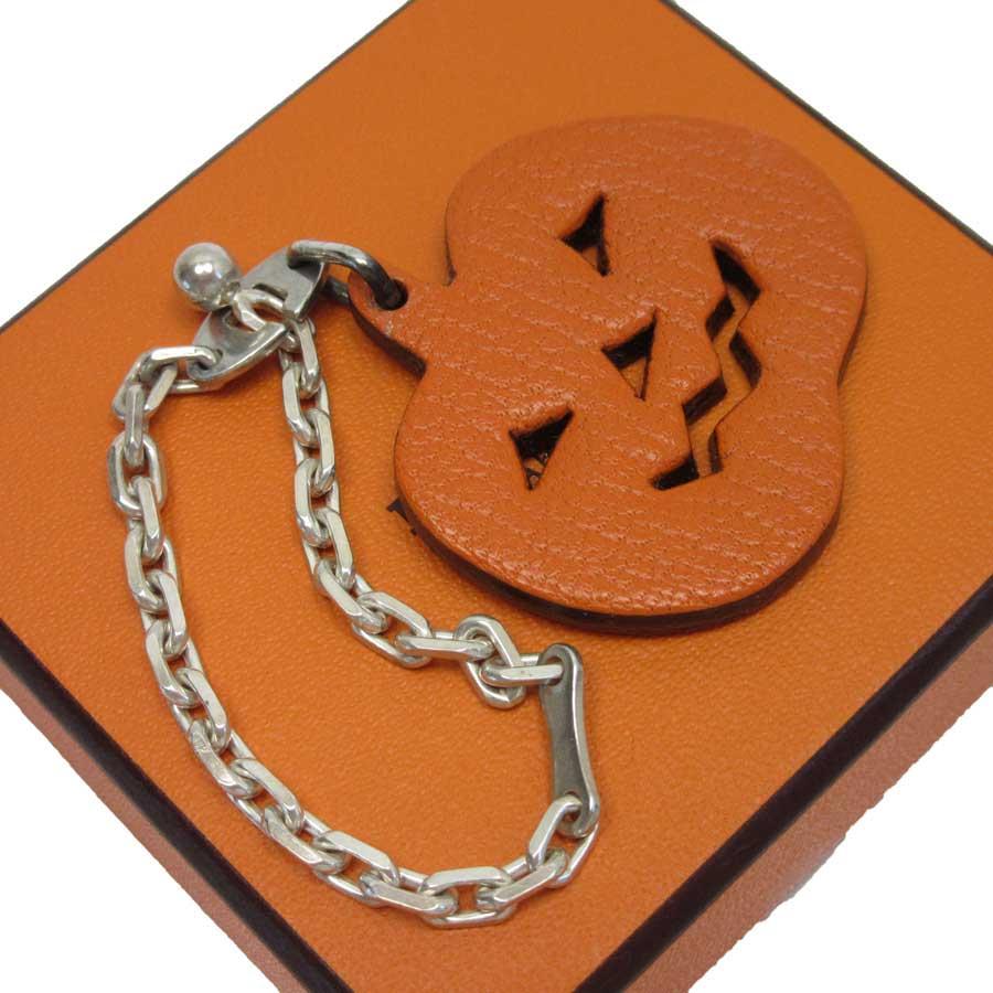 エルメス HERMES キーホルダー チャーム ハロウィン かぼちゃ オレンジxシルバー レザーx925 【中古】【定番人気】 - g0530