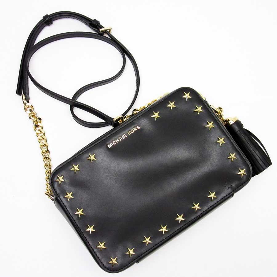 6c53fe67cf7f9b BrandValue: Take Michael Kors MICHAEL KORS slant; shoulder bag star studs  black x gold leather x studs Lady's - h20105   Rakuten Global Market