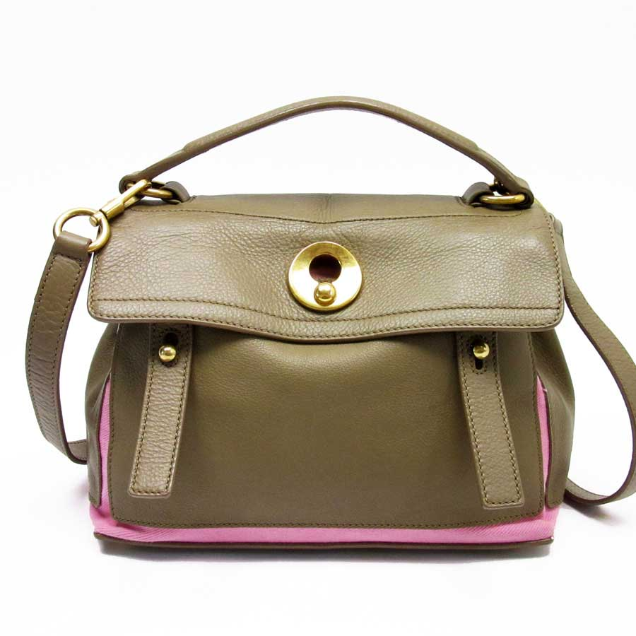 fd18957942a BrandValue: Yves Saint-Laurent YVES SAINT LAURENT handbag shoulder bag 2Way  bag Muses toe brown x pink leather x canvas Lady's - h20181 | Rakuten  Global ...