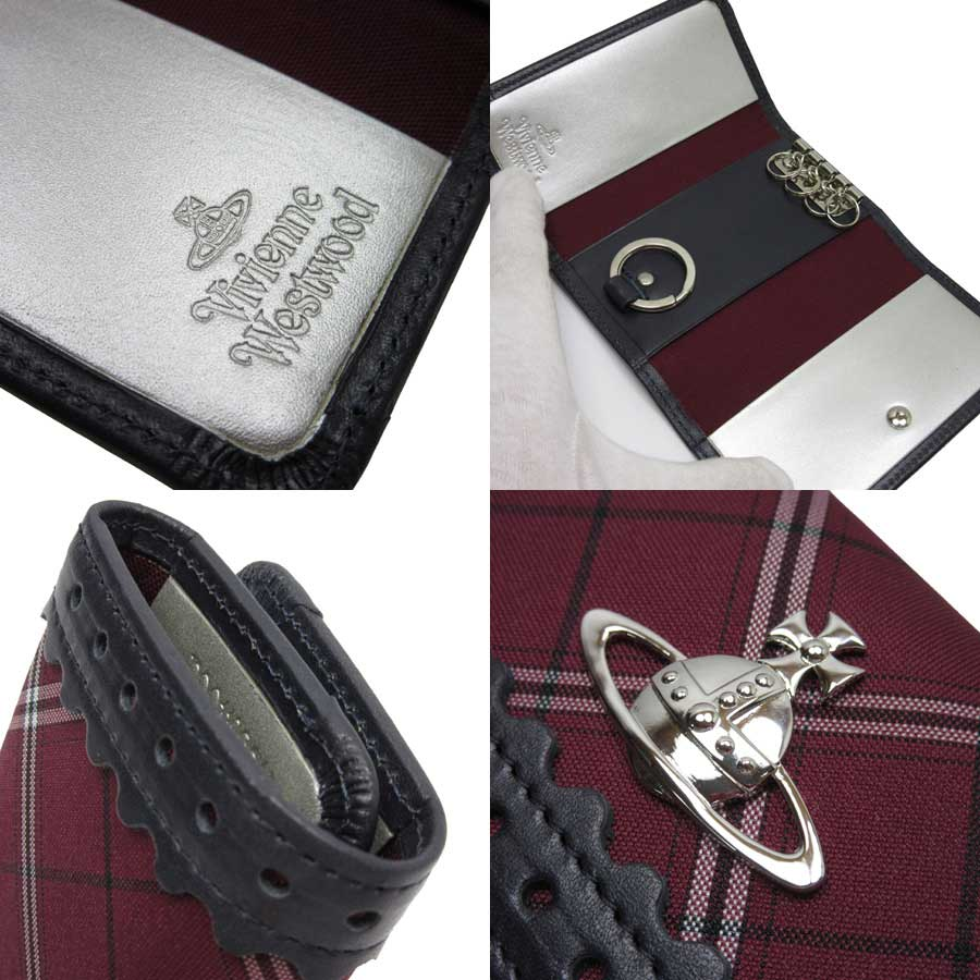 18c17fce6 [basic popularity] [used] the lady's navy x dark red x silver canvas x  leather with the Vivien waist Wood [Vivienne Westwood] Aube four key case  key ring