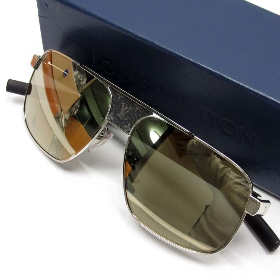 a56382f09c  basic popularity   used  Louis Vuitton  Louis Vuitton  monogram eclipse  sunglasses (58 □ 14 145) lady s men s silver x black x dark gray lens  Gold  SSx ...