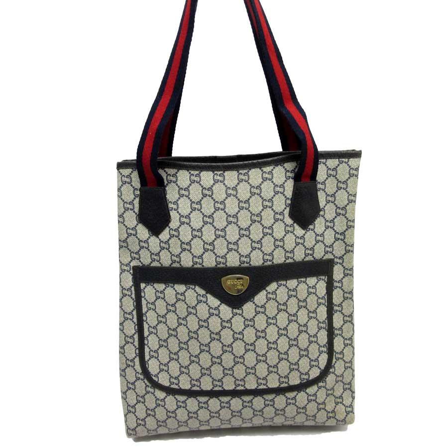 6834ea64207b7 BrandValue  Gucci plus GUCCI PLUS shoulder bag tote bag GG plus gray x navy  x red x black x gold PVCx leather Lady s - h20492