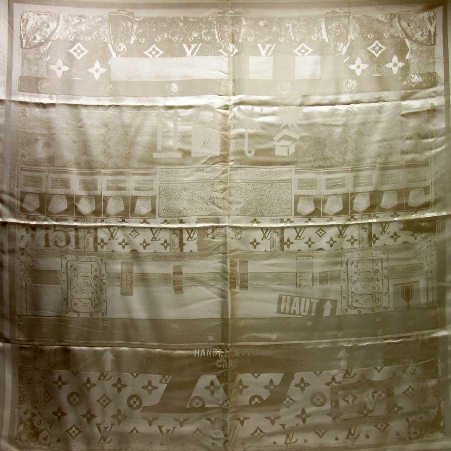 ルイヴィトン Louis Vuitton スカーフ モノグラム ベージュ シルク100% レディース 【中古】【定番人気】 - h20498
