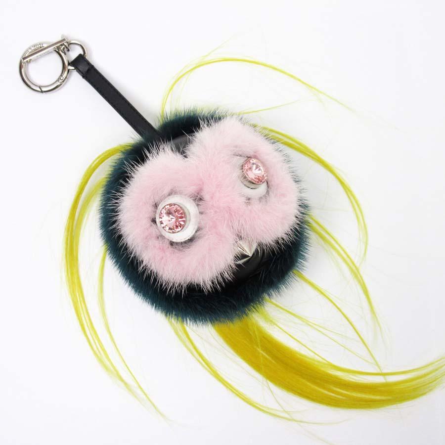 cf66816329b8 BrandValue  Fendi FENDI key ring charm Bag Bugs monster pink x green x  yellow x black x silver fur x leather x crystal Lady s - h20571