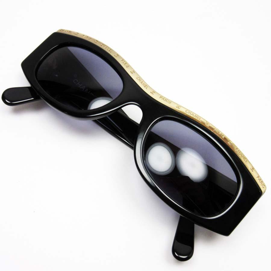 シャネル CHANEL サングラス フレーム:ブラックxゴールド レンズ:ネイビー プラスチックx金属素材 レディース 【中古】【定番人気】 - n9017