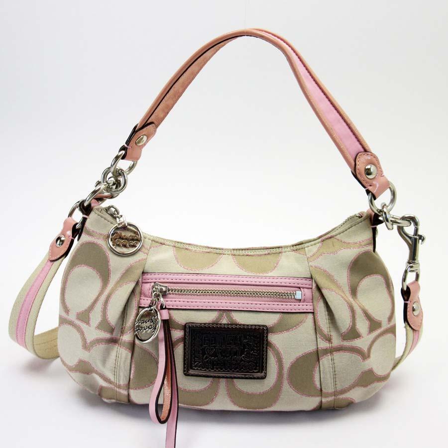 4f09d67343 BrandValue: Coach COACH shoulder bag signature beige x pink x bronze canvas  x leather Lady's - x2550 | Rakuten Global Market