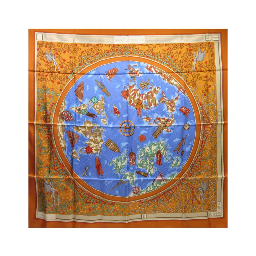 エルメス HERMES スカーフ オレンジxブルー シルク100% レディース 【中古】【定番人気】 - h20450