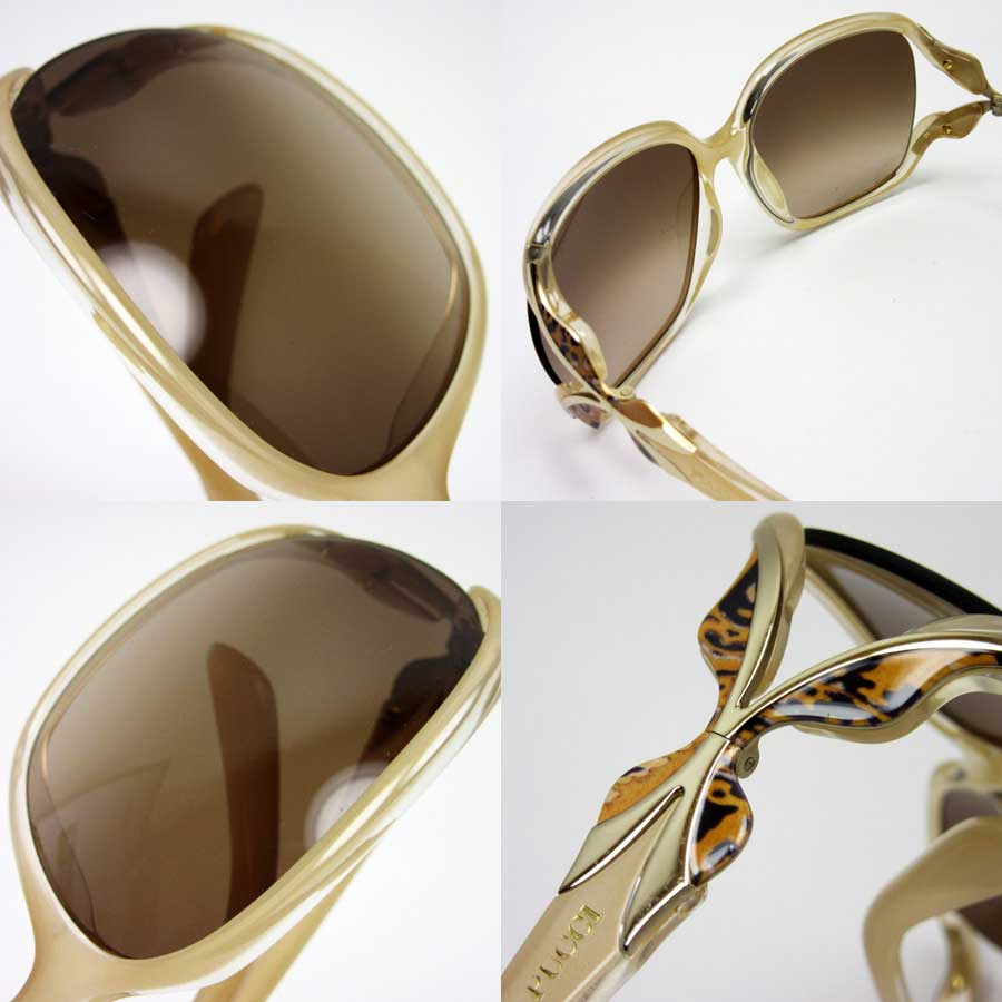 e95d302736  basic popularity   used  Emilio Putsch  EMILIO PUCCI  sunglasses (58 □ 16  120) Lady s frame   temple  Clear beige   orange   gold lens  Brown plastic