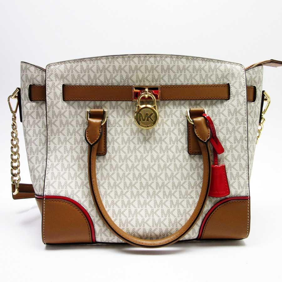 4e41b1dd36e Take Michael Kors MICHAEL KORS handbag slant; shoulder bag 2Way bag white x  gray x camel x red x gold leather Lady's - h20703