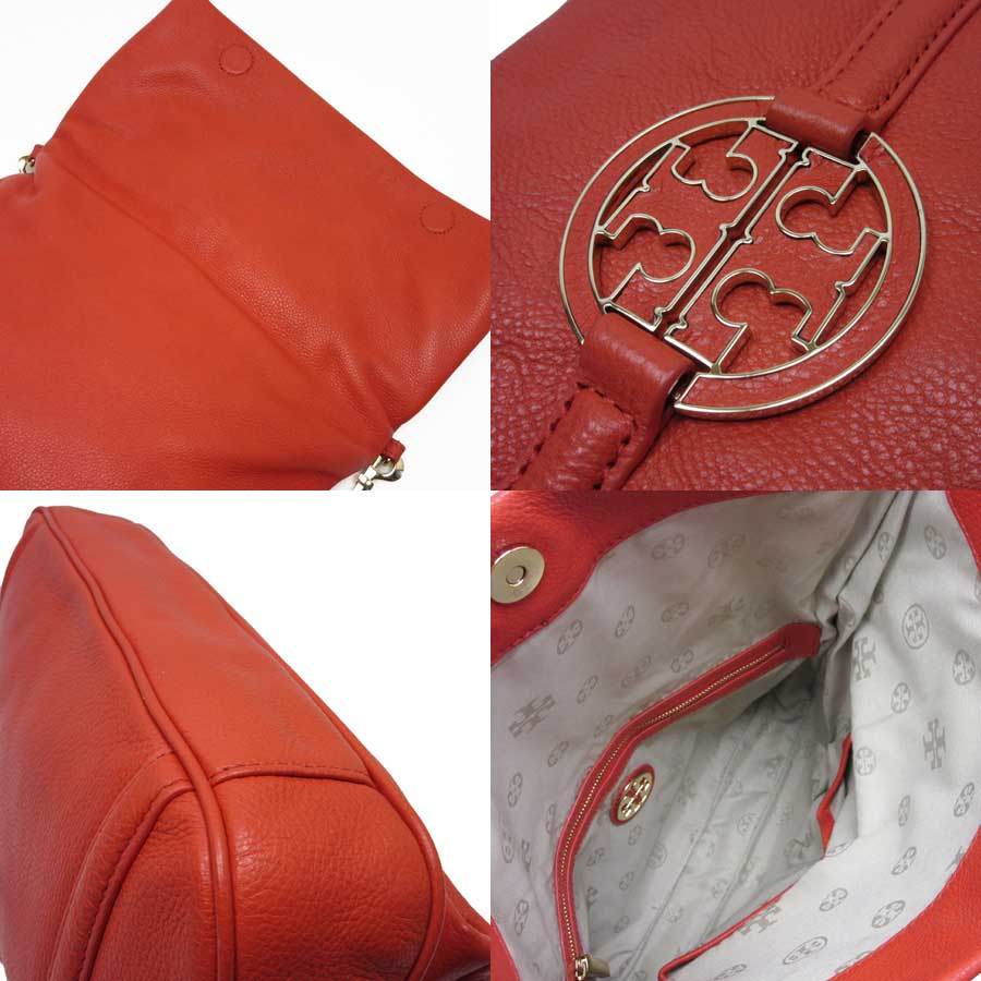 6456c5eb54 [basic popularity] [used] take Tolly Birch [TORY BURCH] slant; shoulder bag  2Way bag clutch bag Lady's orange x gold leather