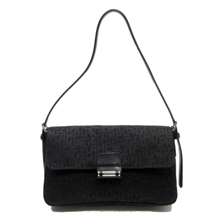 basic popularity   used  Longchamp  LONGCHAMP  shoulder bag Lady s black  canvas x leather c9c3399088c35