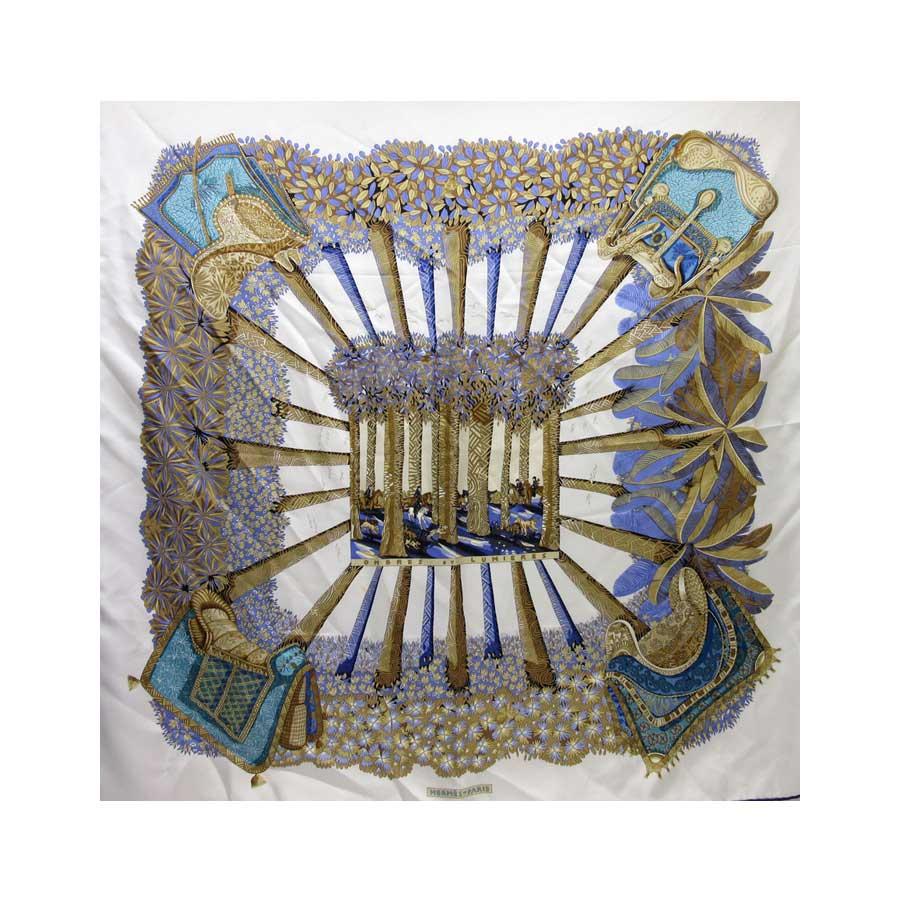 エルメス HERMES スカーフ ホワイトxブラウンxブルー シルク100% 【中古】【定番人気】 - h20866
