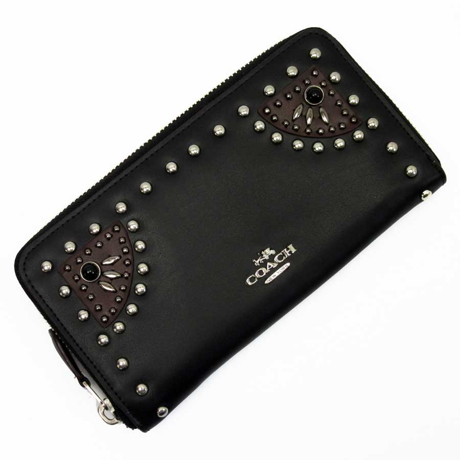 67ed19ae79ca ... discount code for basic popularity used coach coach round fastener long  wallet ladys black x black