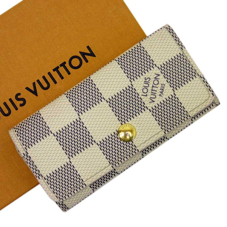 ルイヴィトン Louis Vuitton 4連キーケース ダミエアズール ミュルティクレ4 アズール ダミエキャンバス レディース メンズ N60020 【中古】【定番人気】 - h20958