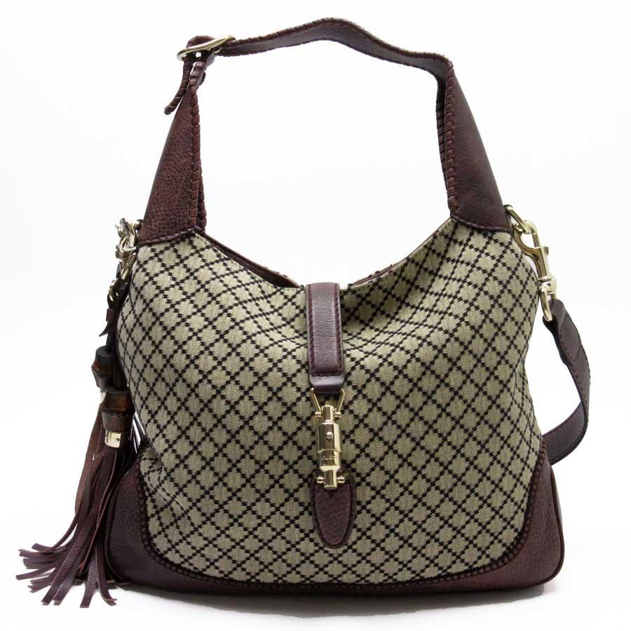 f6c9fbea9c BrandValue: Gucci GUCCI shoulder bag Jackie Diamante beige x dark red x  gold canvas x leather Lady's - h20985 | Rakuten Global Market