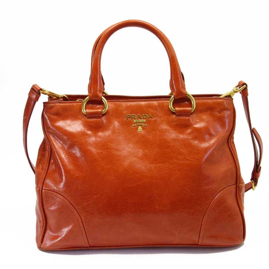 cc61965d34ad [basic popularity] [used] take Prada [PRADA] handbag slant; shoulder bag  2Way bag lady orange x gold leather