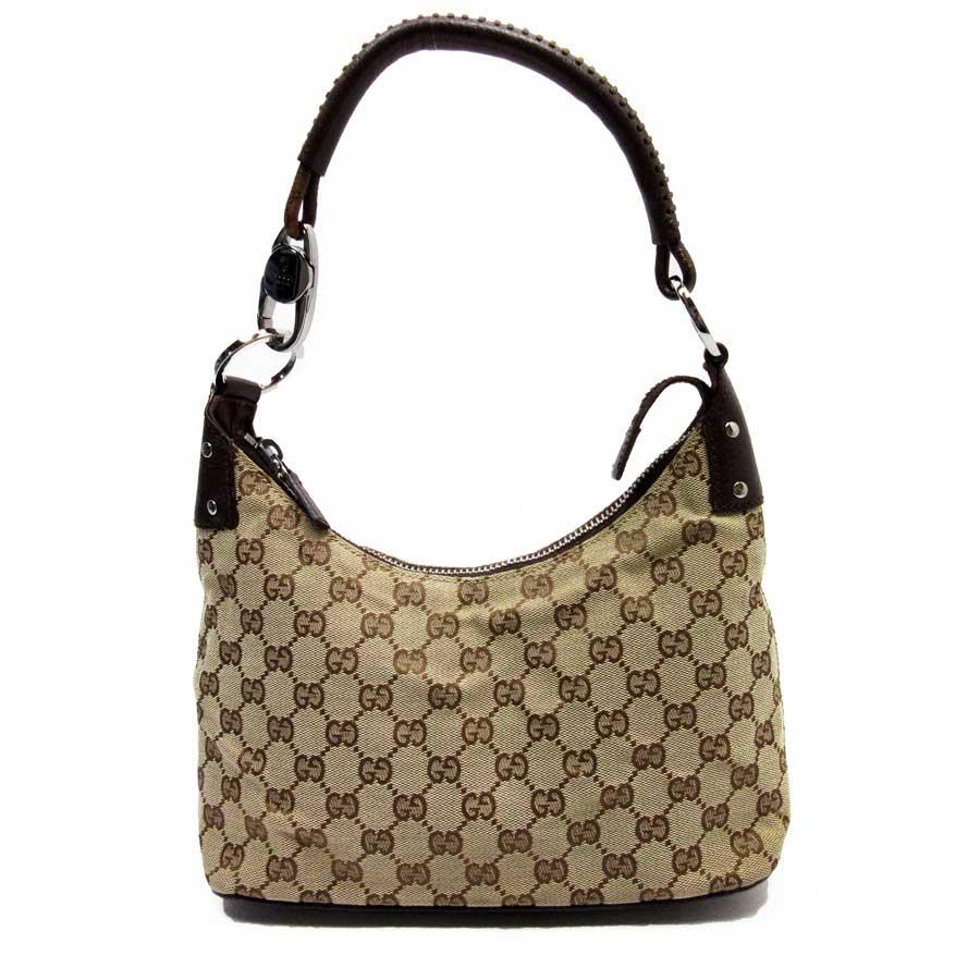 df3cf6dfd2 BrandValue: Gucci GUCCI shoulder bag GG beige x brown x silver canvas x  leather Lady's - h21043 | Rakuten Global Market
