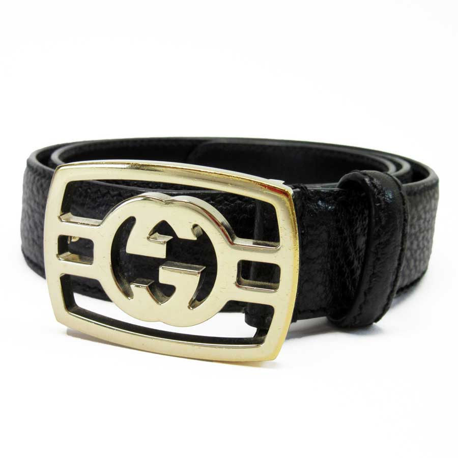 38035eee0 BrandValue: Gucci GUCCI belt double G black x gold leather x metal material  Lady's men - t14584 | Rakuten Global Market