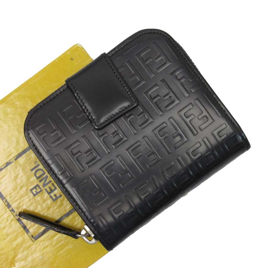 フェンディ FENDI 二つ折り財布 ズッカ ブラックxシルバー 型押しレザー レディース 【中古】【定番人気】 - t14592