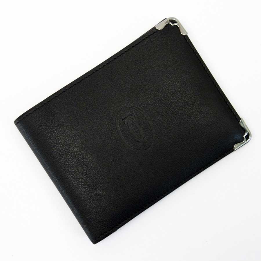 カルティエ Cartier 二つ折り財布 マストライン ブラックxシルバーxボルドー レザー 【中古】【おすすめ】 - x2672