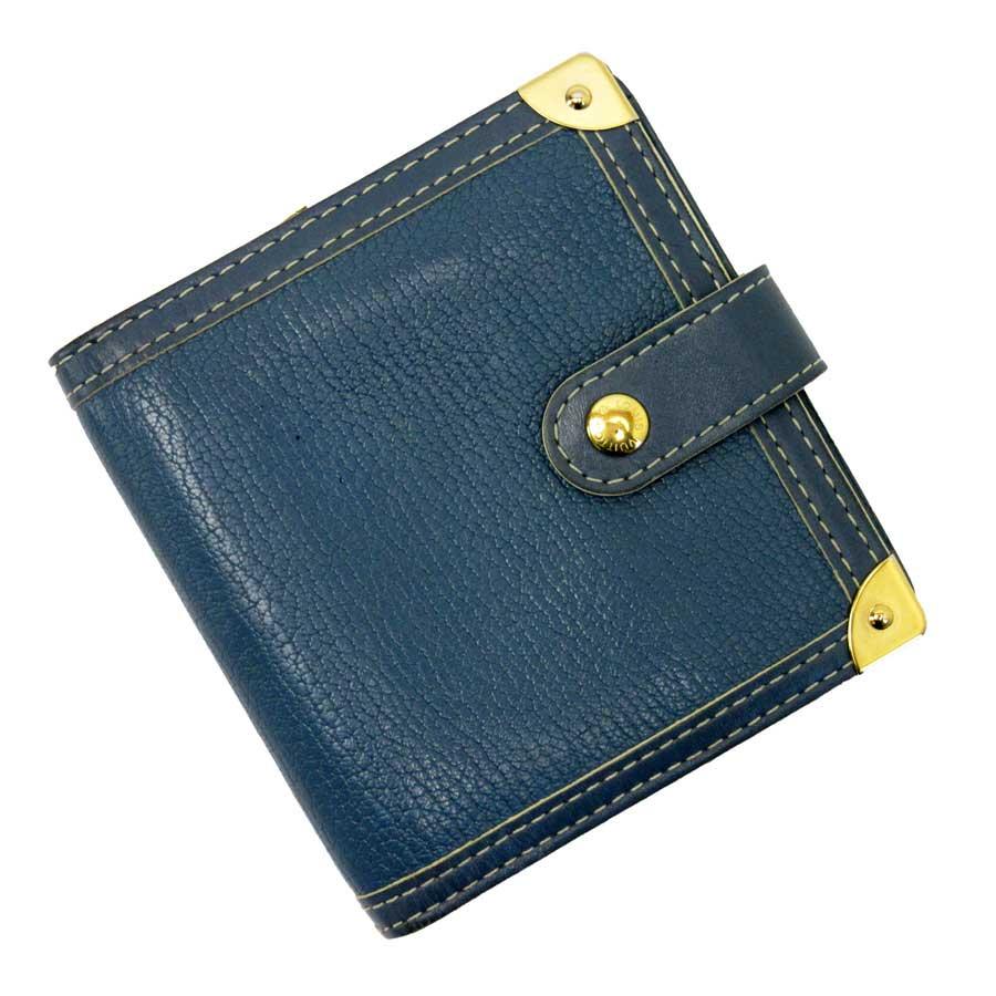 ルイヴィトン Louis Vuitton 二つ折り財布 スハリ コンパクトジップ ブルーxゴールド スハリレザー レディース M91829 【中古】【定番人気】 - g0677